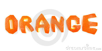 Word orange made of orange peel isolated on white.