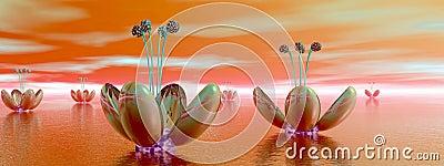 Orange alien flowers