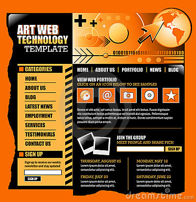 Free Orange And Black Internet Website Template Stock Photo - 15509430