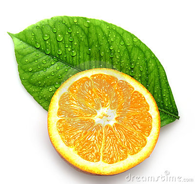 Free Orange And Leave With Drops Stock Image - 13096101