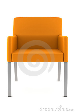Orange armchair isolated on white background