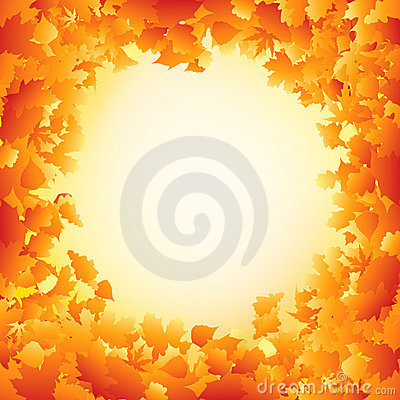 Orange autumn leaves frame design. EPS 8 Vector Illustration