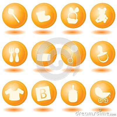 Free Orange Baby Icons Royalty Free Stock Images - 9633079