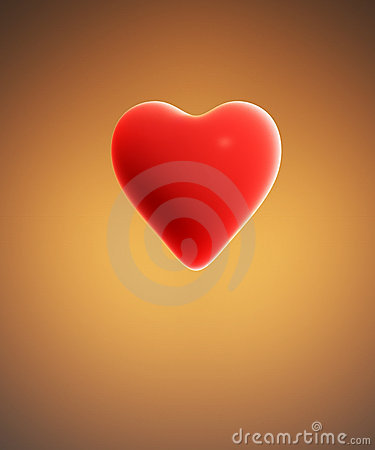 Orange background with red heart