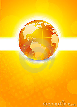 Free Orange Background With Globe Stock Photos - 23767753