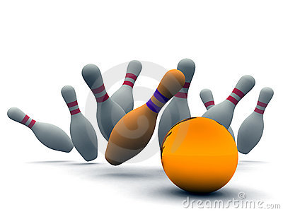Orange ball and bowling pins