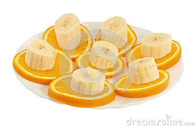 Orange And Banana Slices On A Plate Royalty Free Stock Photography - Image: 25538457