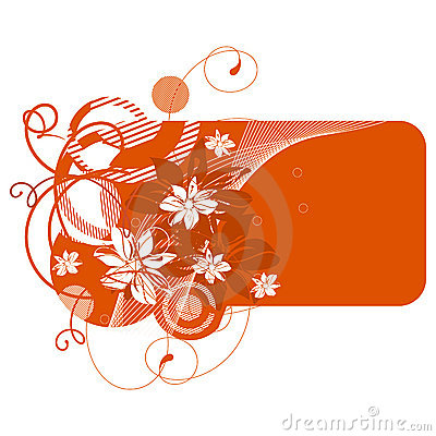 Orange banner with flowers
