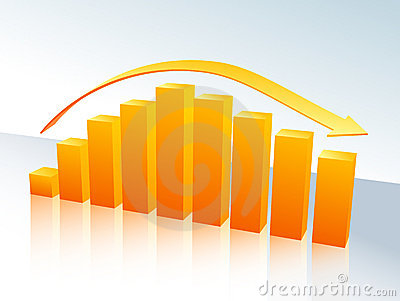 Orange bar graph with arrow