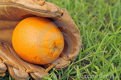 Orange in baseball glove