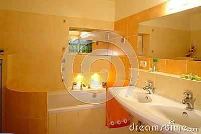 Orange Bathroom Royalty Free Stock Photo - Image: 4972975