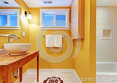 Orange bathroom with modern sink.