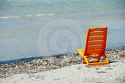 A orange beach chair