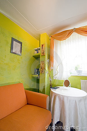 Orange bedroom corner