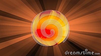 Orange Bereich des Plasmas auf Strahlnhintergrund, Zerfall des Feuerballs in Partikel, die Geburt von neuen Sternen phantasie stock abbildung