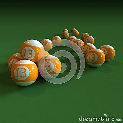 Orange billiard balls number 13 on green felt tabl