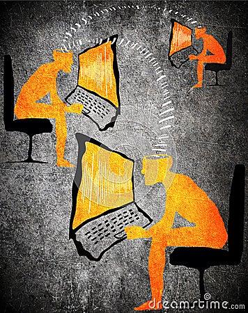 Orange on black digital communication concept