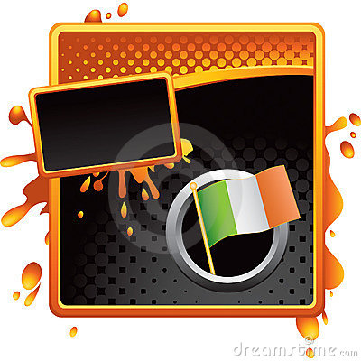 Orange and black halftone grungy ad irish flag