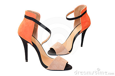 Orange and black woman high heels shoes