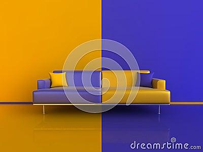 Orange Blue Contrast Interior Royalty Free Stock Images