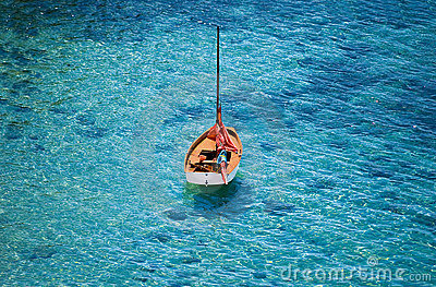 Orange boat on the sea