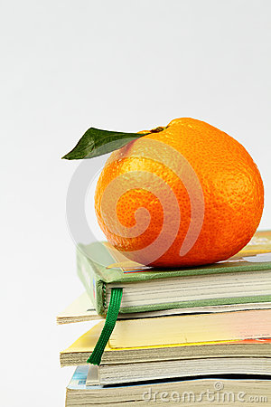 Orange on the books isolated