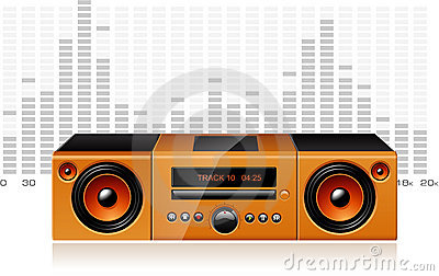 Orange boombox with signal spectrum, vector