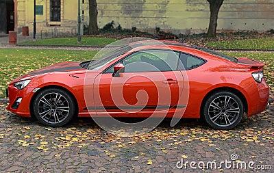 Orange bright sport car outdoor