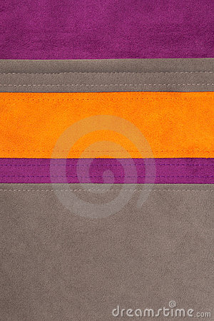 Orange, brown and purple leather texture sewed