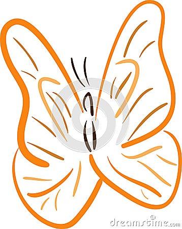 Orange Butterfly lineart