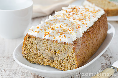 Orange cake with cream cheese icing, horizontal