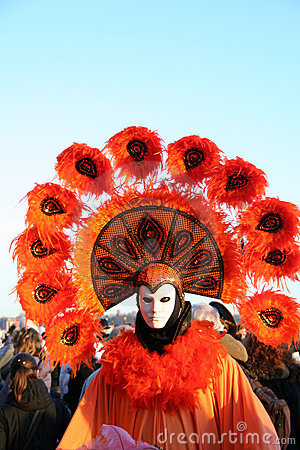Orange carnival costume and mask Editorial Photography
