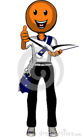 Orange Cartoon University Student wth thumbs up