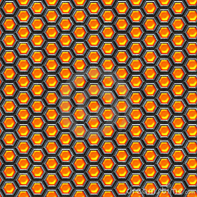 Orange cells. Metal background.