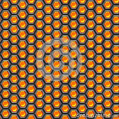 Orange cells. Metal background.