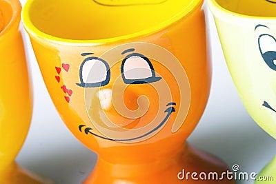Orange ceramic egg holder