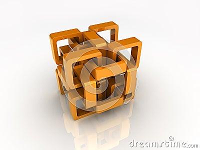 Orange chain cube