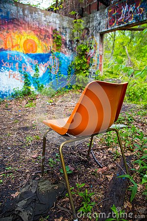 Free Orange Chair In Abandoned Building Stock Images - 130413324