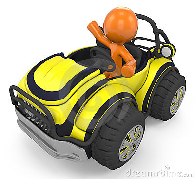 Orange character in dune buggy