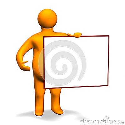 Orange Charakter with Board 3D