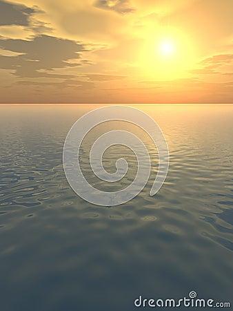 Orange chaud au-dessus de mer calme