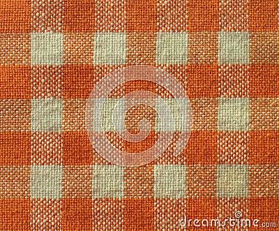 Orange checkered canvas texture- fabric background