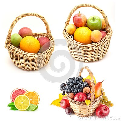 Orange ,cheery fruits in brown basket grapes Stock Photo