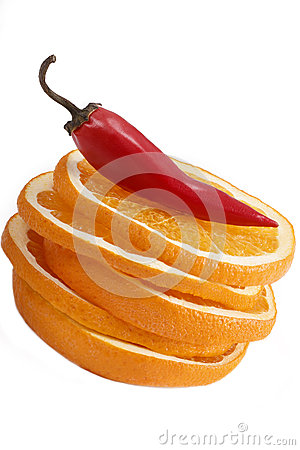Orange and chili isolated