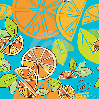 Orange citrus bright Seamless pattern background