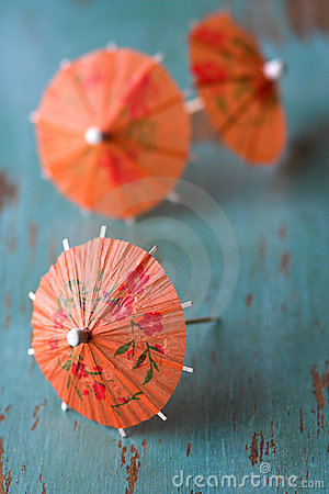 Free Orange Cocktail Paper Umbrellas Stock Images - 2109104