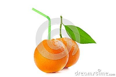 Orange with cocktail straw