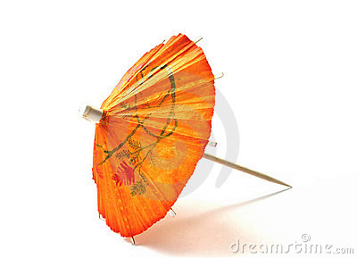Orange cocktail umbrella