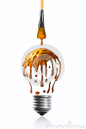 Orange color dripping making a light bulb shape