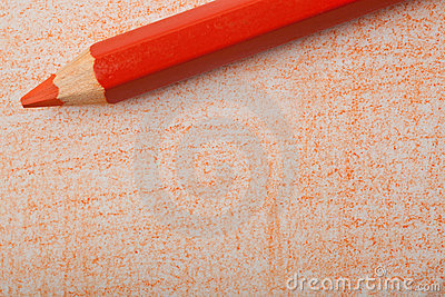 Orange color pencil with coloring
